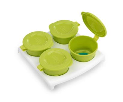 Explora Recipient de stocare hrana x 4 buc cu farfurie Verde