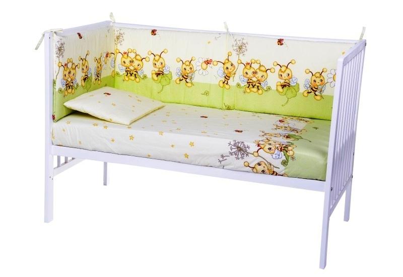 Lenjerie patut cu 5 piese Little Bees Green 019