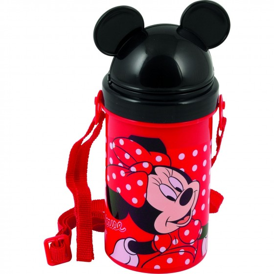Pahar cu pai, capac si curea umar BBS Minnie Mouse, 500 ml