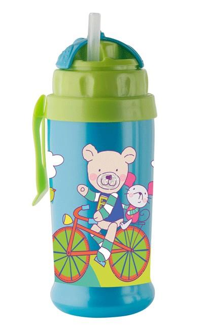 Pahar Cu Pai De Silicon Coolfrends Aqua 360ml.12l+ Rotho-babydesign