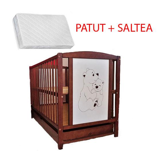 Patut Din Lemn Bear + Saltea Cocos