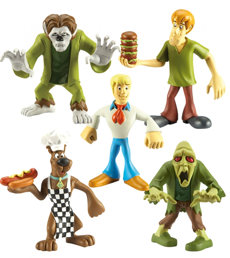 Set 5 figurine 7 cm personaje Scooby Doo (Scooby Bucatar, Shaggy, Fred, Omul-Lup si Zombi)