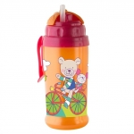 Pahar cu pai de silicon CoolFrends Raspberry 360ml.12L+ Rotho-babydesign