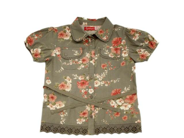 Camasa maneca scurta fete imprimeu trandafiri (Masura 104 (3-4 ani))