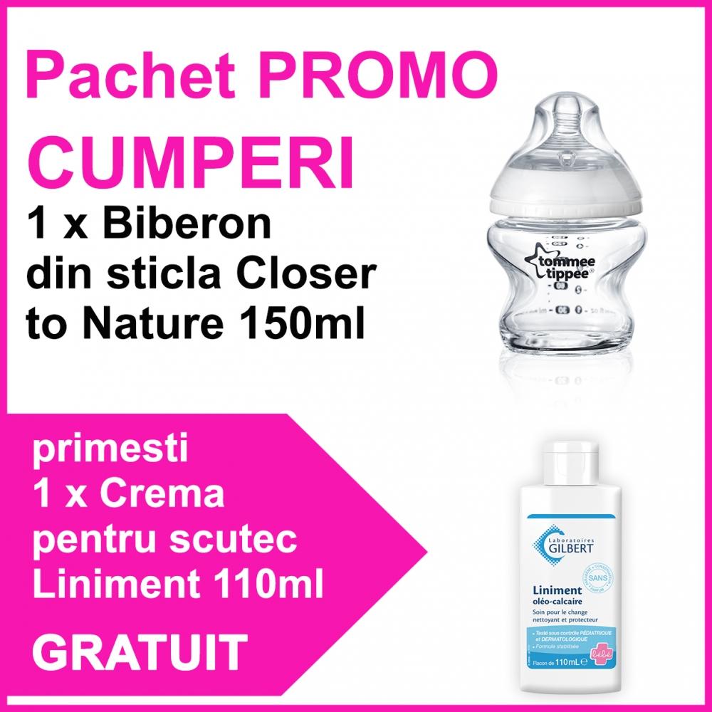 Pachet PROMO Biberon Closer to Nature 150ml sticla + Crema pentru scutec Liniment 110ml GRATUIT