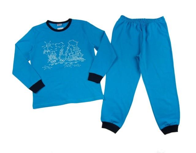 Pijamale baietei Happy Train (Masura 128 (7-8 ani))