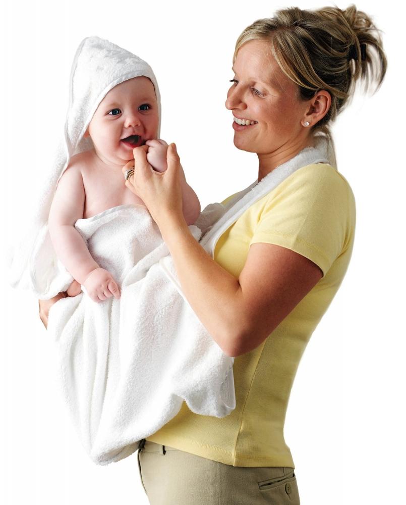 Prosop de baie pentru bebelus si mama alb Clevamama