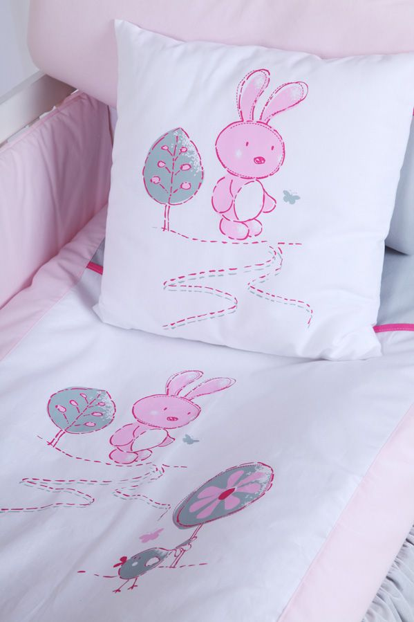 Set lenjerie 4 piese Little Bunny gri-pink Klups
