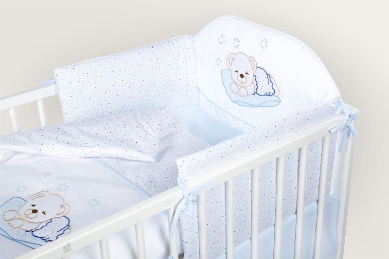 Set lenjerie brodata 2 piese Sleeping Teddy Bear blue Klups