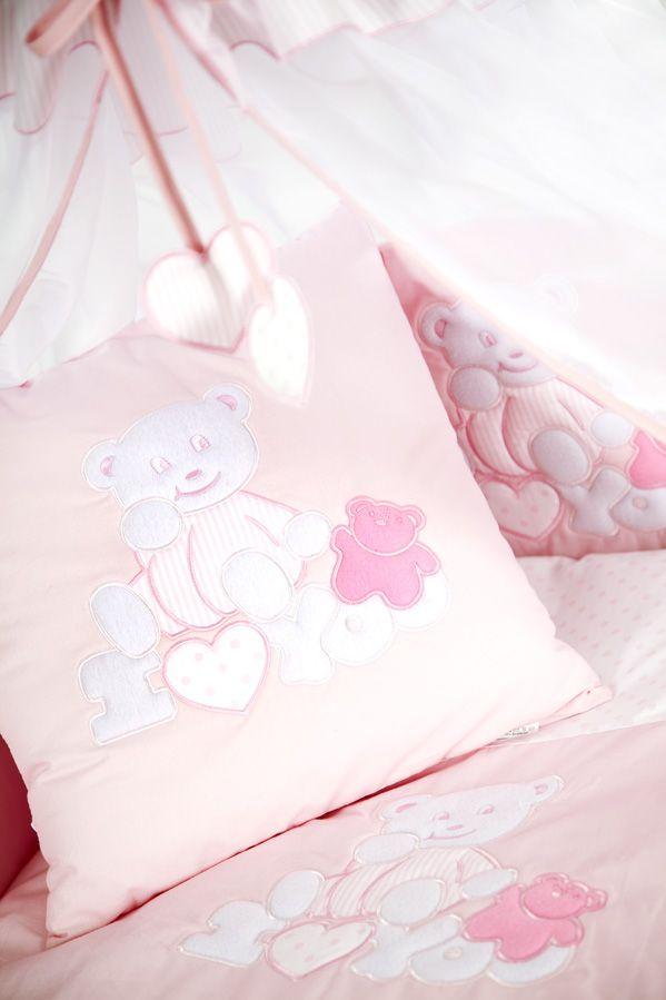Set lenjerie brodata 4 piese I love you ursulet roz Klups