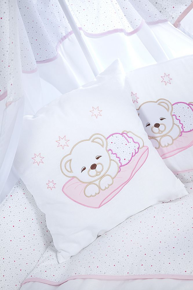 Set lenjerie brodata 5 piese Sleeping Teddy Bear pink Klups