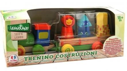 Trenulet din lemn cuburi cu 1 locomotiva si 1 vagon pentru bebelusi
