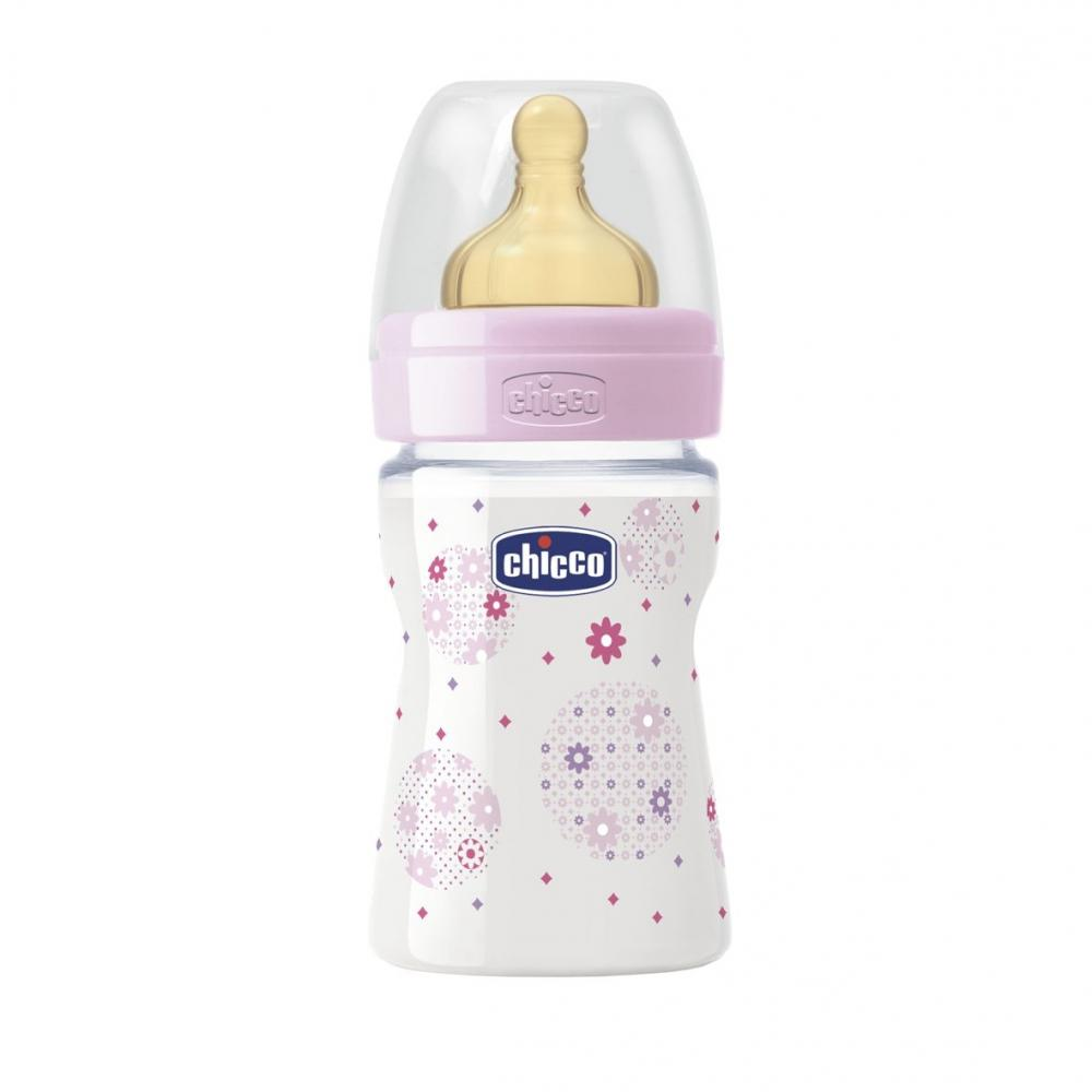 Biberon Chicco WellBeing PP, girl, 150ml, t.c., flux normal, 0+luni, 0BPA