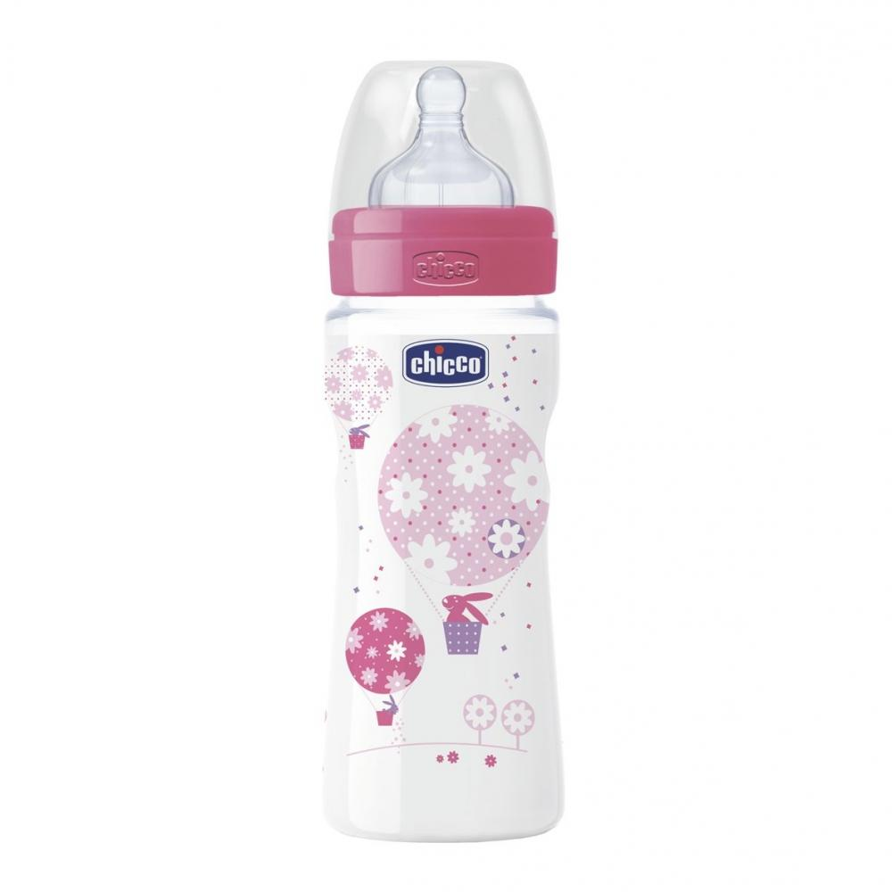 Biberon Chicco WellBeing PP, girl, 330ml, t.s., flux rapid, 4+luni, 0BPA