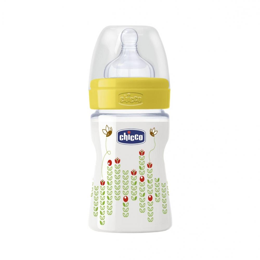 Biberon Chicco WellBeing PP, unisex, 150ml, t.s., flux normal, 0+luni, 0BPA