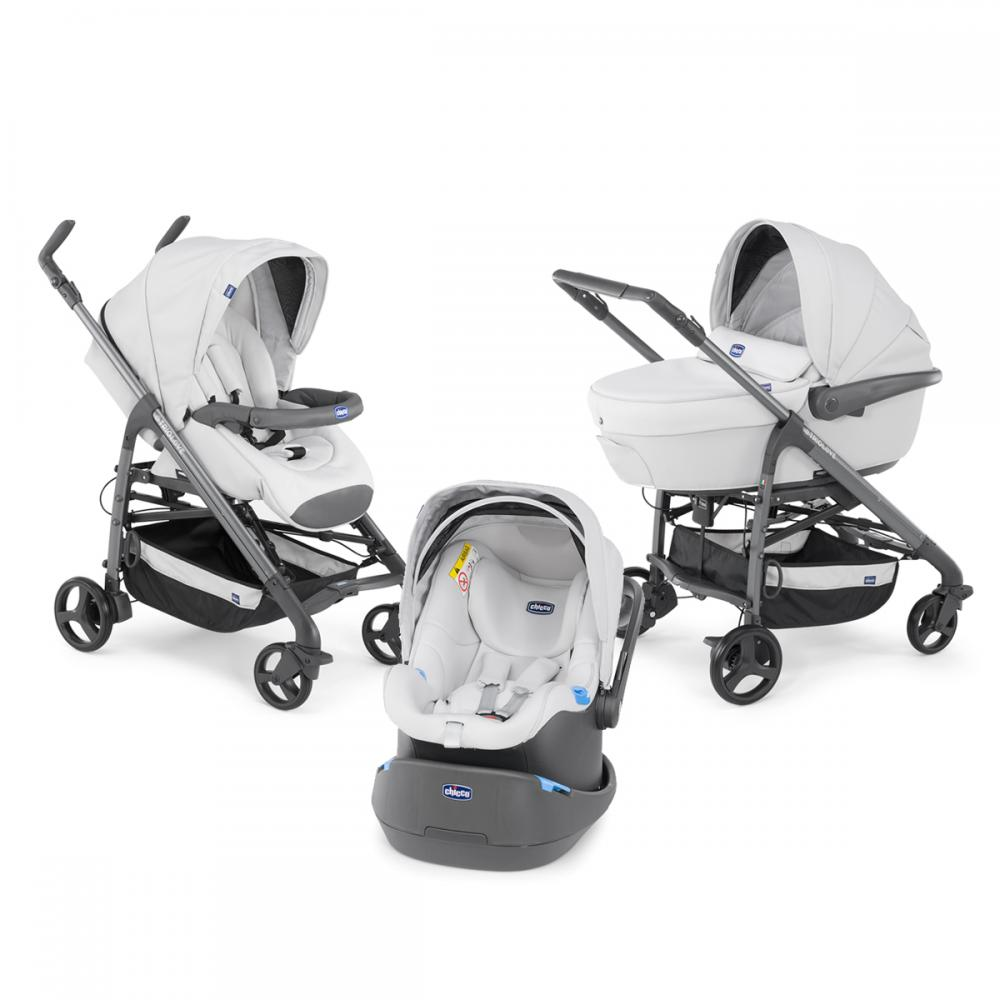 Carucior 3 in 1 Chicco Trio Love, car kit, 0luni+, Grey