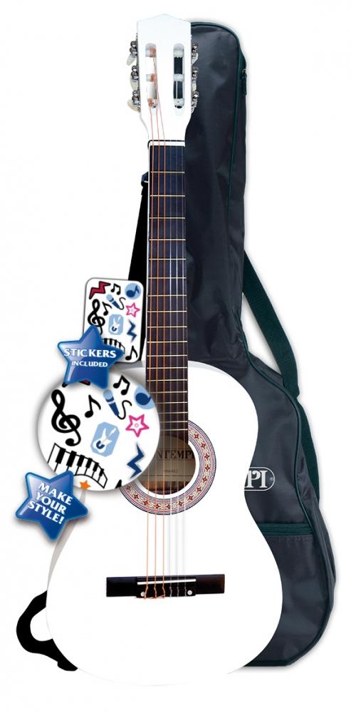 Chitara din lemn alb cu husa si stickere