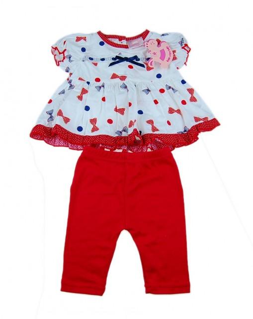 Compleu bebe fata cu imprimeu fundite (Masura 68 (3-6 luni))