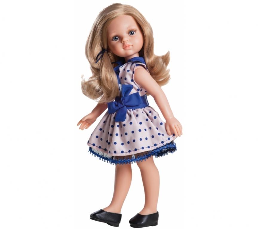 Papusa Carla in tinuta roz cu buline albastre - Paola Reina