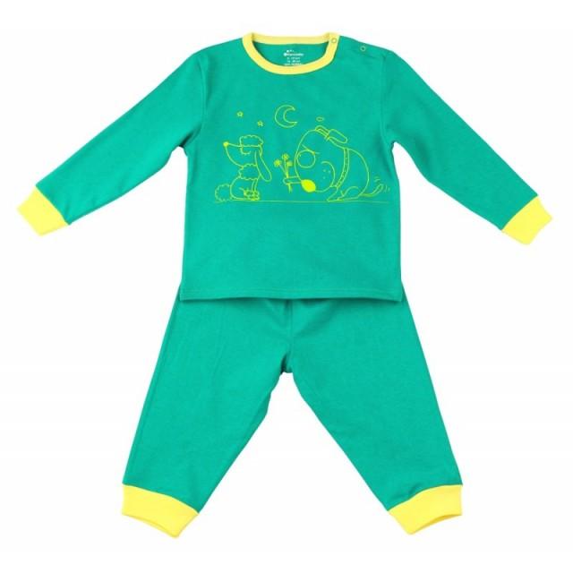 Pijama copii cu maneca lunga si pantalon lung de culoare verde (Masura 110 (4-5 ani))