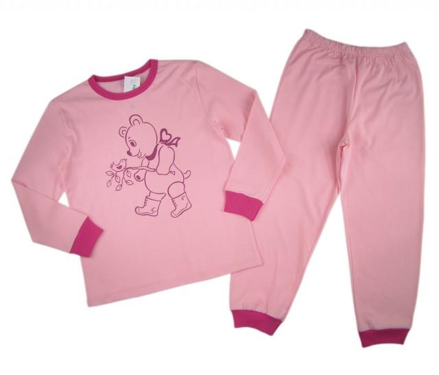 Pijamale fetite Happy Bear bumbac (Masura 116 (5-6 ani))
