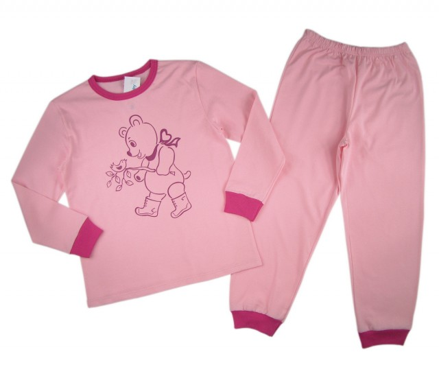 Pijamale fetite Happy Bear bumbac (Masura 128 (7-8 ani))