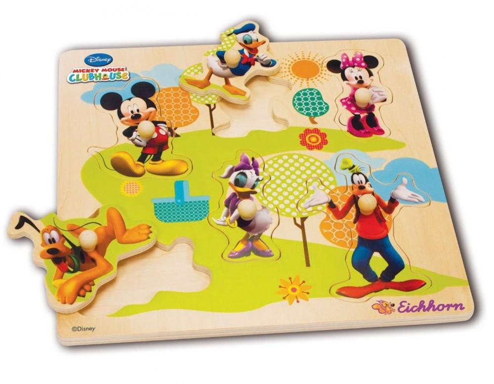 Puzzle din lemn cu 6 personaje Mickey Mouse Club House