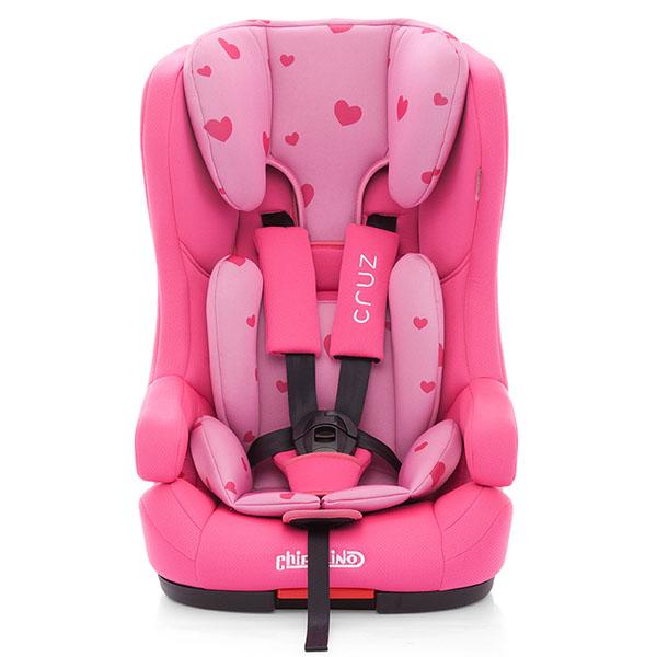 Scaun auto Chipolino Cruz cu sistem Isofix pink hearts 2016