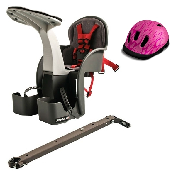 Scaun de bicicleta si Casca protectie Flames Roz WeeRide WR01R