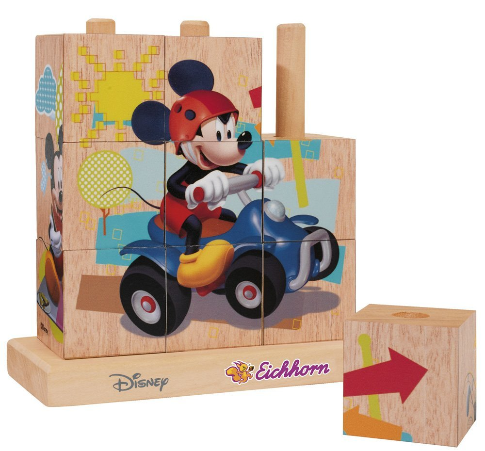 Set 9 cuburi de lemn Mickey Mouse