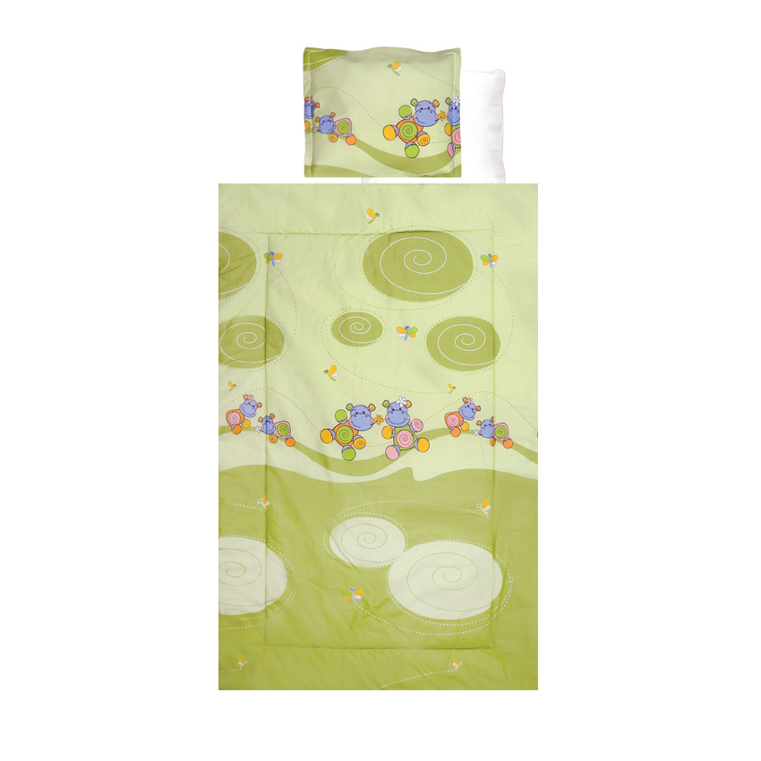 Set lenjerie pat 4 piese Hippo Green