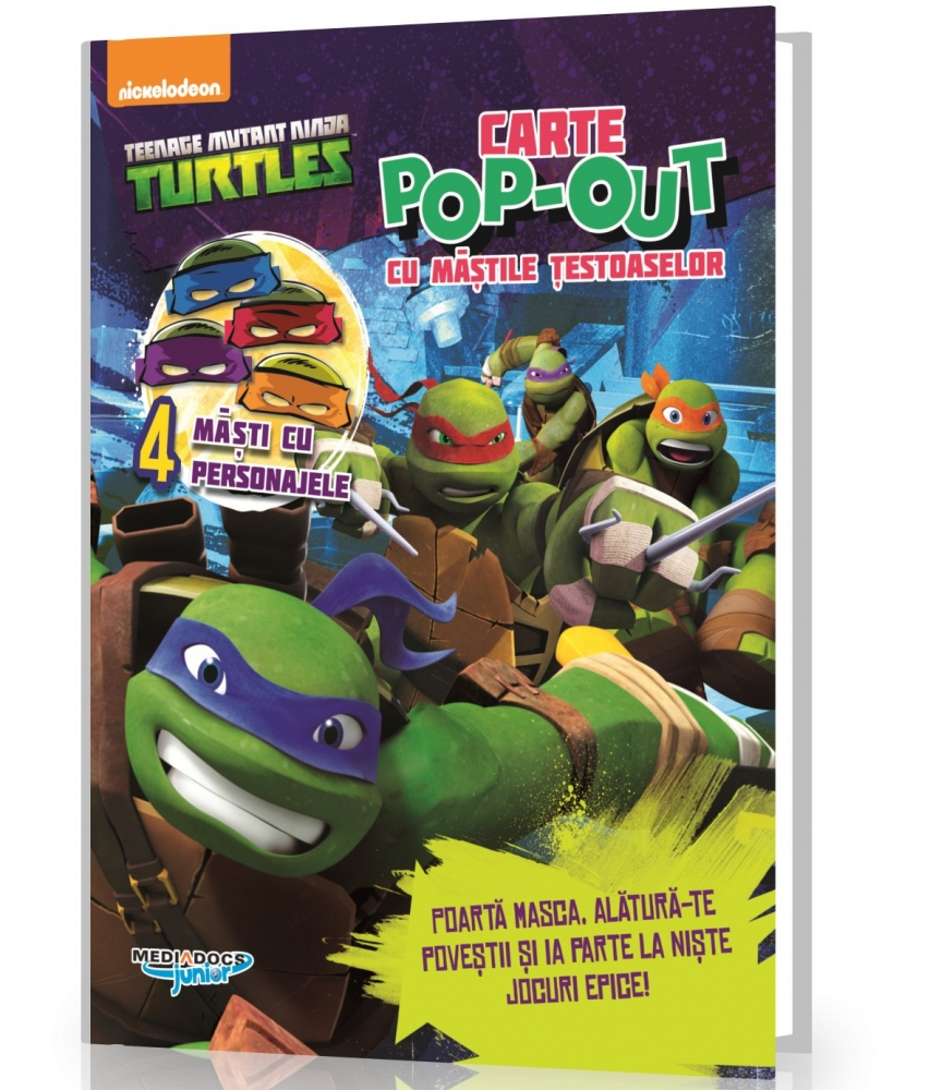 Testoasele Ninja – Carte cu activitati si mascute Pop-Up incluse