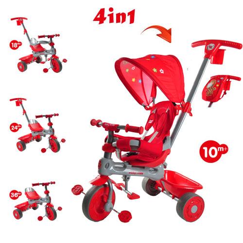 Tricicleta Baby Trike 4 in 1 Giraffe Red