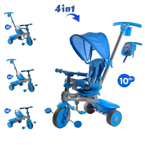 Tricicleta Baby Trike 4 in 1 Hippo Blue
