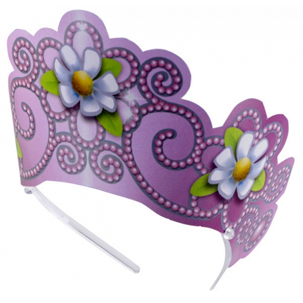 Coronita de printesa violet cu floricele albe, Amscan RM250141, Set 6 buc