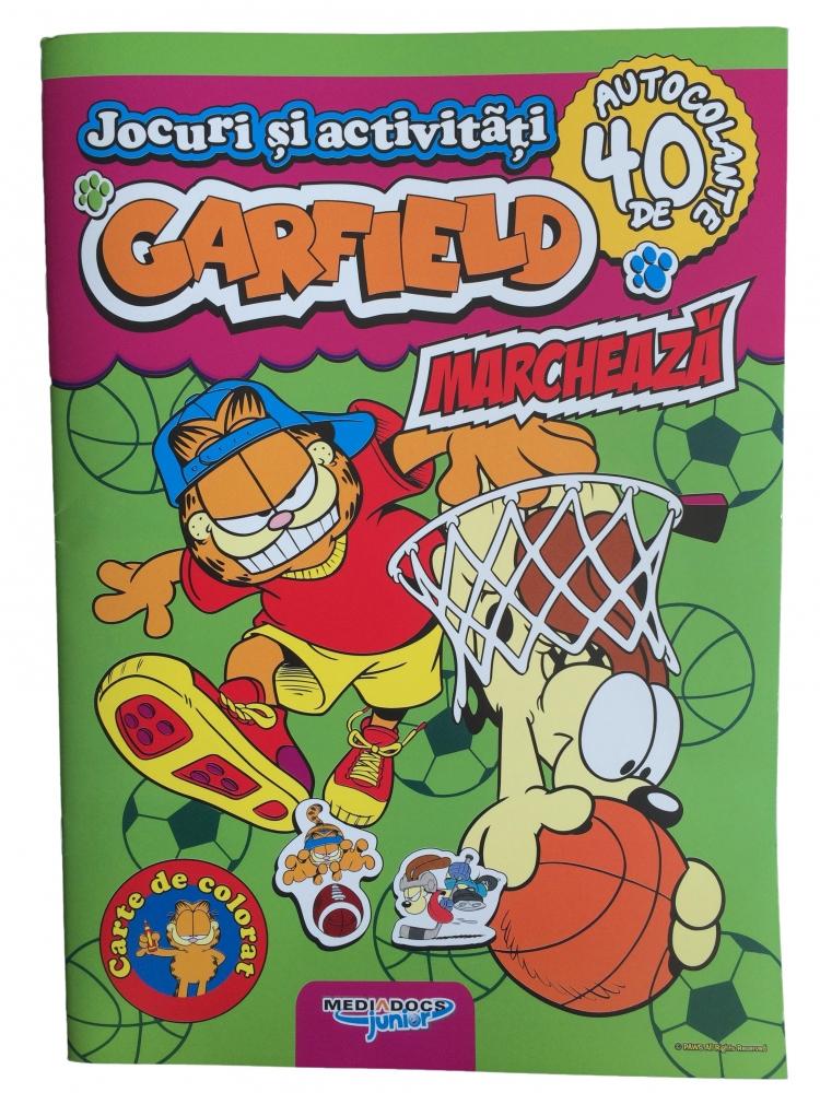 Carte cu activitati si stickere Garfield Marcheaza