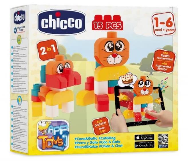Jucarie Chicco App set 15 piese constructie 2D Catelusul si Pisicuta