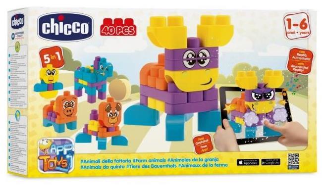 Jucarie Chicco App set 40 piese constructie 2D Ferma animalelor