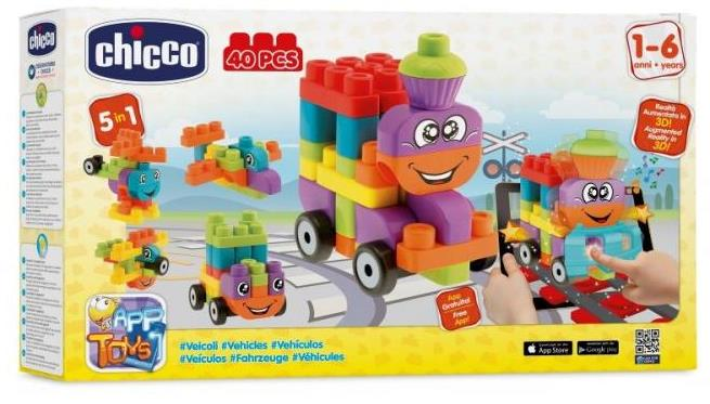 Jucarie Chicco App set 40 piese constructie 3D Vehicule