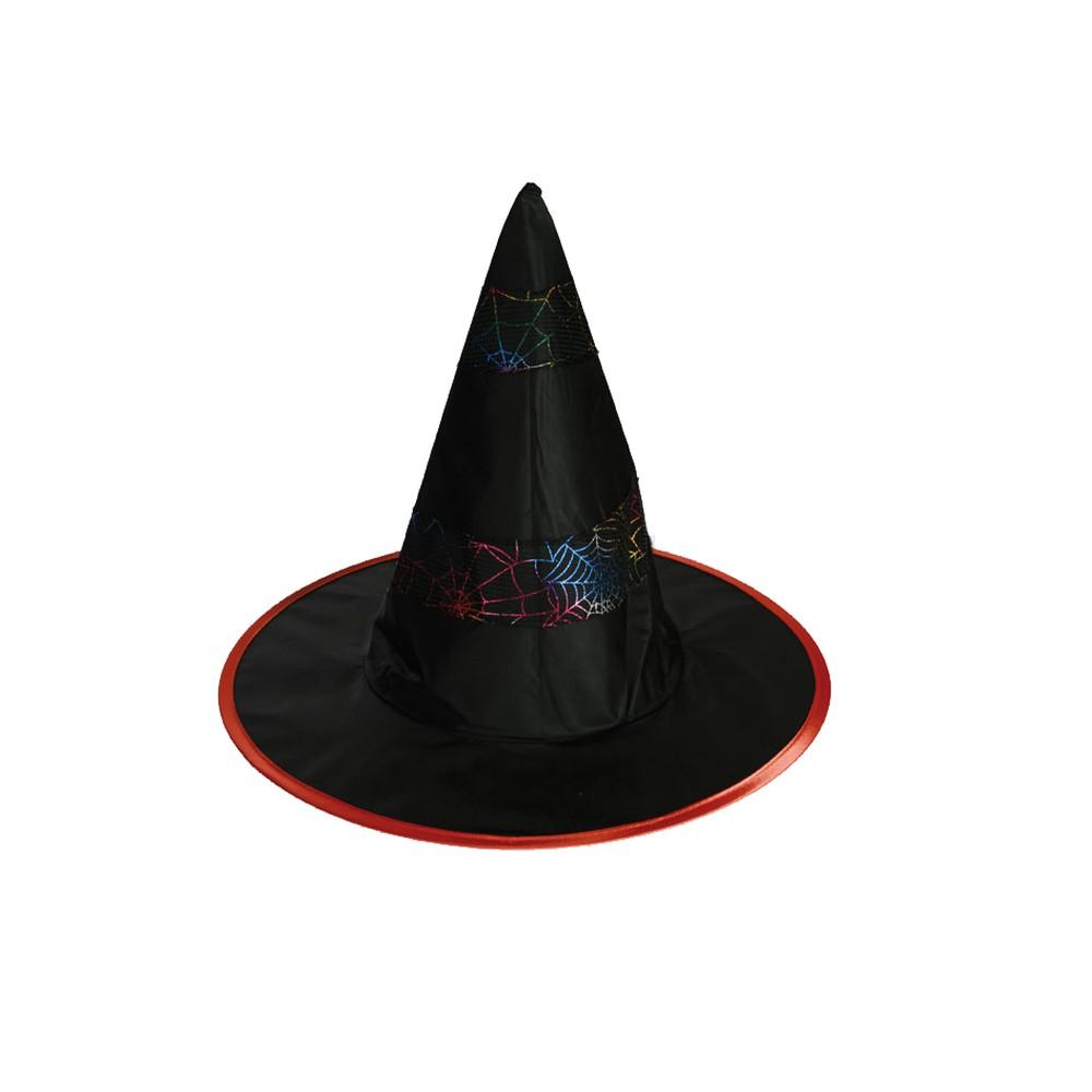 Palarie de vrajitoare pentru Halloween decorata cu panza de paianjen, OOTB 632654, 1 buc