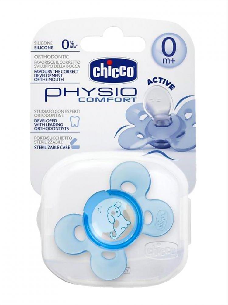 Suzeta Chicco silicon Physio Comfort, forma ortodontica, 0luni+, 1buc., bleu