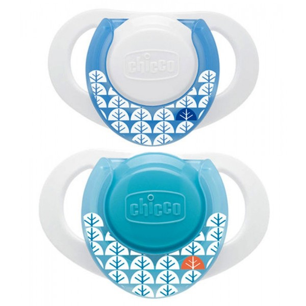 Suzeta Chicco silicon Physio, forma ergonomica, 0luni+, doua bucati, bleu