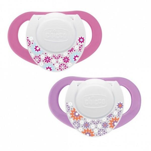Suzeta Chicco silicon Physio, forma ergonomica, 4luni+, doua bucati, roz