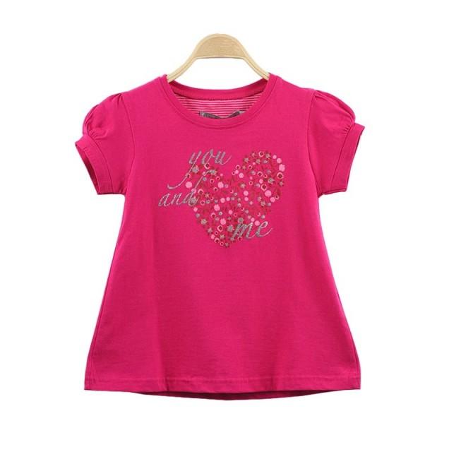 Tricou roz cu inimioara (Masura 104 (3-4 ani))