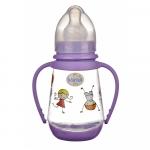 Biberon Minut Baby 150ml cu manere si tetina silicon 0+ Diverse culori