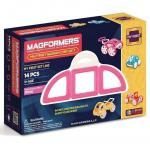 Joc de constructie magnetic MAGFORMERS - My First - Masina roz (14 piese)