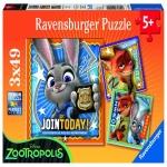 Puzzle Zootopia 3x49 Piese