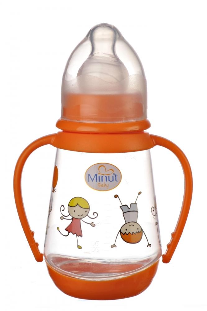 Biberon Minut Baby 150ml cu manere si tetina silicon 0+ portocaliu