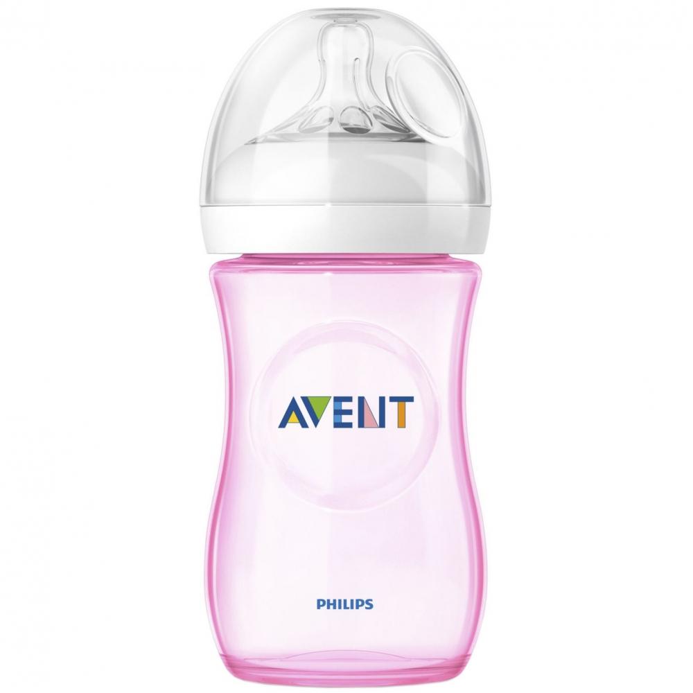 Biberon Philips Avent Natural 260 ml polipropilena nu contine BPA culoare roz