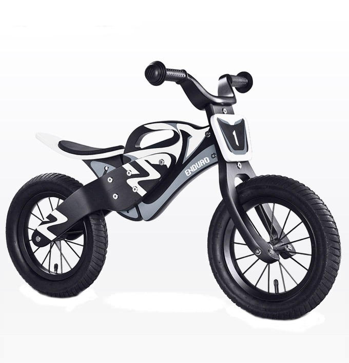 Bicicleta de lemn fara pedale Enduro BlackWhite